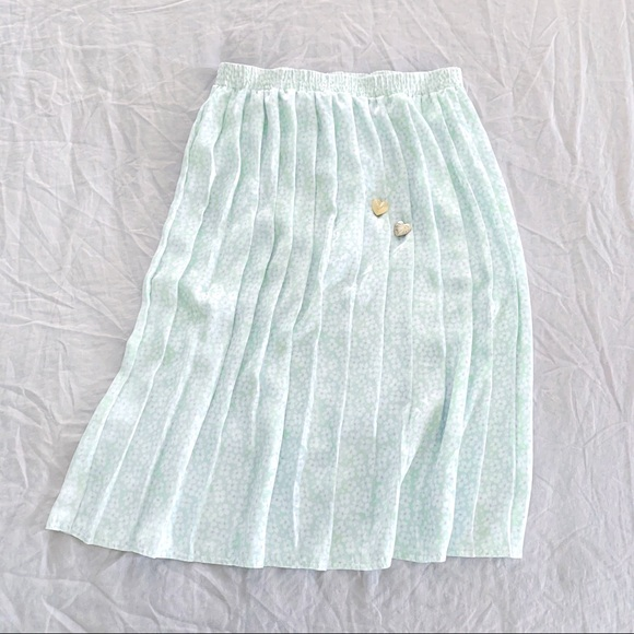 Vintage mint floral pleated silk midi skirt